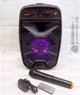 Feiyipu ES-15-8S Портативная колонка Микрофон, Пульт, БП mUSB USB/ mSD/ BT/ FM/ AUX/ LED, Купить Kombousilitel.ru, Активная акустика